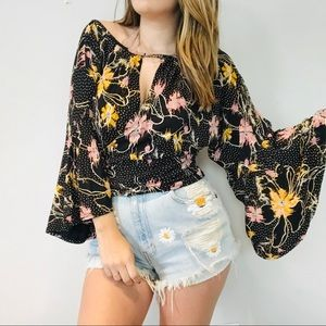 NWT Free People black floral blouse